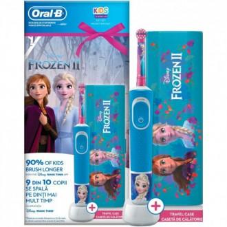 Vitality D100 Oral-B  Frozen с футляром Детская зубная щетка Oral-B 2 насадки