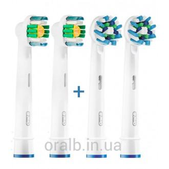 """""""3D White+Cross"""" Набор насадок для зубных щеток Oral-B 4 шт."""
