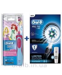 Детская D12 Принцесса+D16 pro 750 Black  Семейный набор зубные щетки Oral-B 6 насадок
