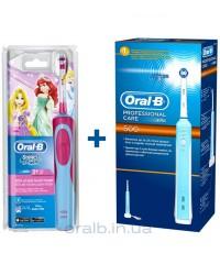 Детская D12.513K Принцесса+D16/500 Семейный набор Oral-B электрические щетки 5 насадок