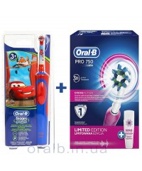 Детская D12 Тачки+D16 pro 750 Pink Семейный набор зубные щетки Oral-B 6 насадок