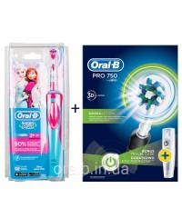 Детская D12 Frozen +D16 pro 750 Black  Семейный набор зубные щетки Oral-B 6 насадок