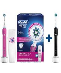 Зубные щетки D16 Pro 750 Black+D16 Pro 750 Pink  Oral-B 5 насадок