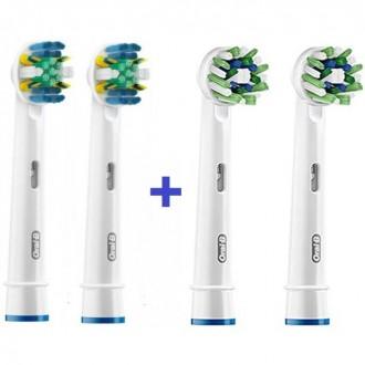 """""""Floss+Cross"""" Набор насадок для зубных щеток Oral-B 4 шт."""