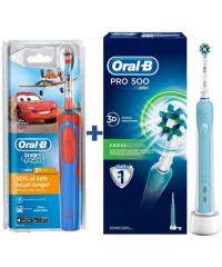 Детская D12.513K Тачки+D16/500 Семейный набор Oral-B электрические щетки 5 насадок