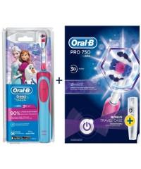 Детская D12 Frozen+D16 pro 750 Pink Семейный набор зубные щетки Oral-B 6 насадок