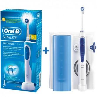 Зубная щетка D12.513 Vitality+Ирригатор MD20 Oxy Jet  Oral-B 7 насадок