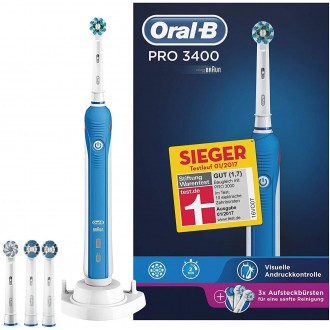 D20 Pro 3400 Синяя Зубная щетка Oral-B 4 насадки